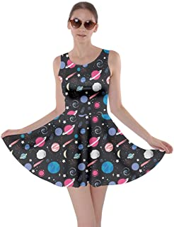 Womens Starry Night with Shiny Silver Stars and Stripes Space Galaxy Skater Dress, XS-5XL