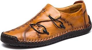 Chaussures Monk Hommes Mocassins Cuir Penny Loafers Conduite Bateau Respirant d'affaires Oxfords Ville Casual Souple Chaus...