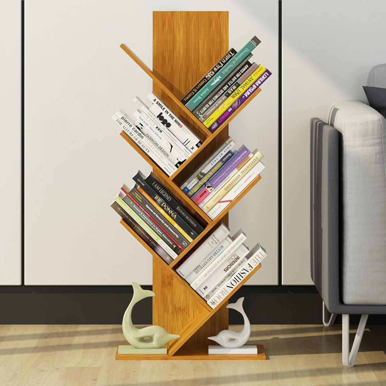 QIANGDA Bookshelf Split-Level Design Bamboo Floor Bookrack Tree-Shape Bookcase High Capacity Commodity Shelf, 7 Sizes Optional (Size   40 x 21 x 80cm)