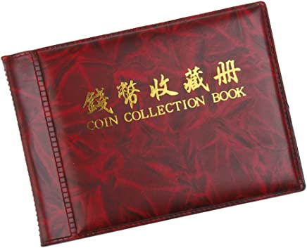 Coin Collectors Collecting Album 60 Coin Holders Wine Red