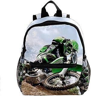 Motocross Green Mochila Escolar Duradera y versátil Adecuada para niños y Alumnos de jardín de Infantes