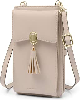RFID Blocking Small Crossbody Bag Credit Card Wallet Purse Cell Phone Pouch Shoulder Bag with 2 Straps for Women - Beige