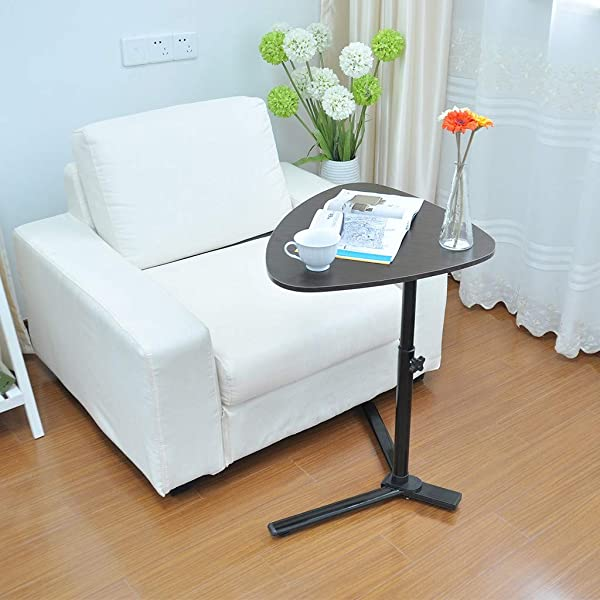 Ketteb 端桌小吃桌沙发沙发咖啡桌高度可调移动笔记本电脑支架桌子可移动易于组装的现代家庭办公家具 23 2X15 7 英寸黑色