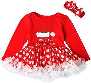 7b6b5f9786e45 HYMax 2pcs Costume Noël Bébé Fille Barboteuse avec Bandeau Tenus Ensembles  Fête 3-18 Mois