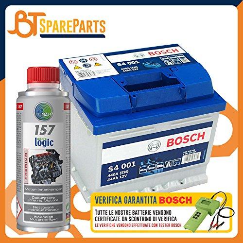 Batteria auto 44Ah 440A 12V Bosch S4 001 0092S40010 Positiva a destra + OMAGGIO Tunap 157 per la pulizia del motore e dell'olio - Kit per DAF 55 1.1 [Periodo 10-1967 - 09-1972] 1108cc 45CV 33kW