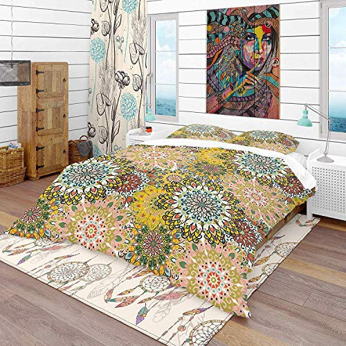 993 Duvet Cover 3 Piece Set Ultra Soft Microfiber Bedding Set Mandala Pattern for Printing on Fabric Or Paper Eclectic Design