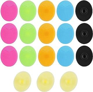 Dadabig 18 stuks Silicone gezichtsreinigingsborstel, handmatig silicone gezichtsreiniger scrubber penseel pads zacht mee-e...