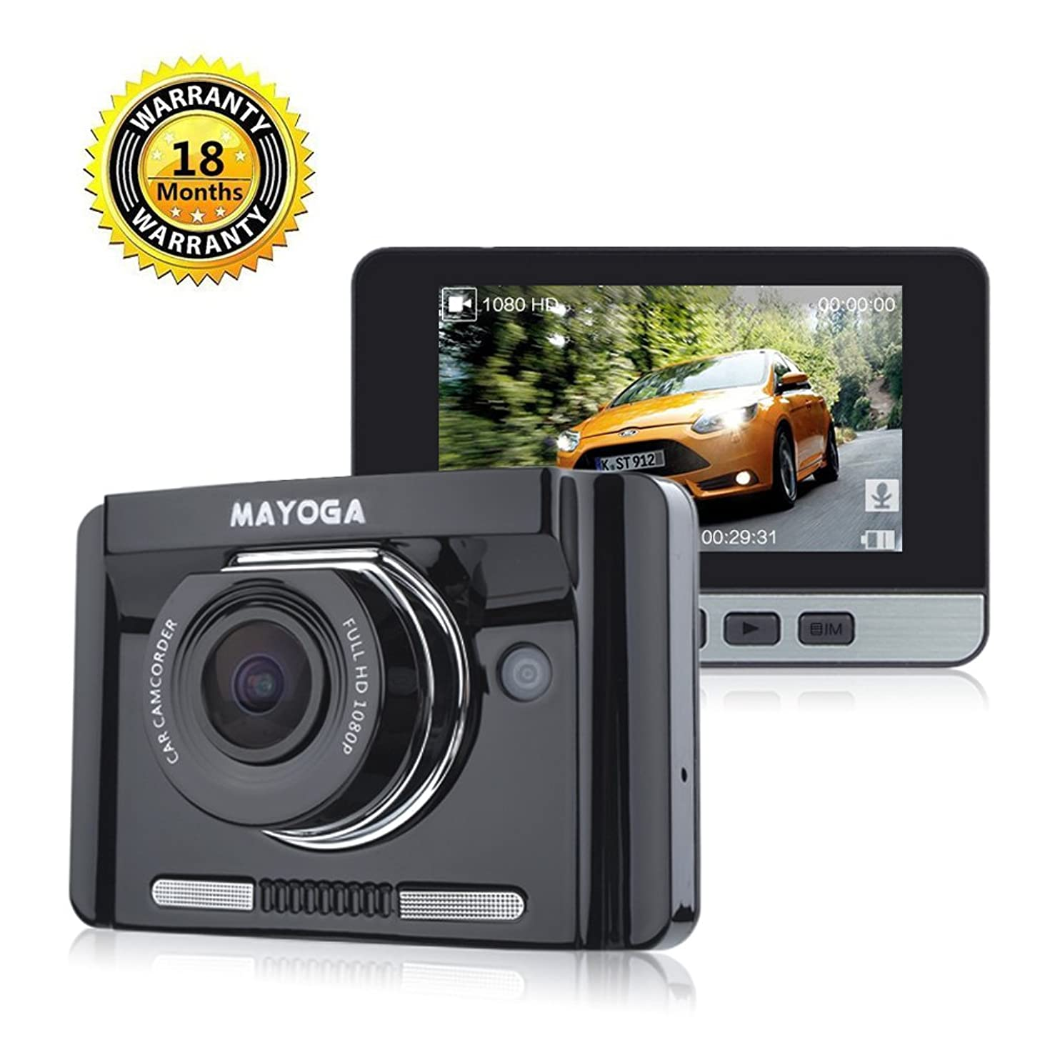 MAYOGA Car Dash Cam FHD 1080P Car DVR Video Recorder 170 Degree Wide-angle Dashboard Driving Camera with 2.7