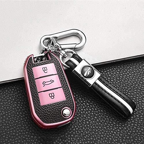 ontto Coque de clé de voiture rabattable en cuir TPU pour Peugeot 3008 308 5008 508 Citroën DS3 DS4 DS5 C4 Cactus Coque de clé avec porte-clés de protection télécommande à 3 boutons Rose