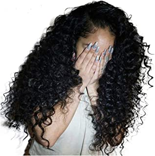 Dolago Hair Lace Front Human Hair Wigs Pre Plucked with Baby Hair Deep Curly Brazilian Virgin Hair Glueless 250% Density 13x4 Lace Front Wig Natural Black (16inch,deep curly)
