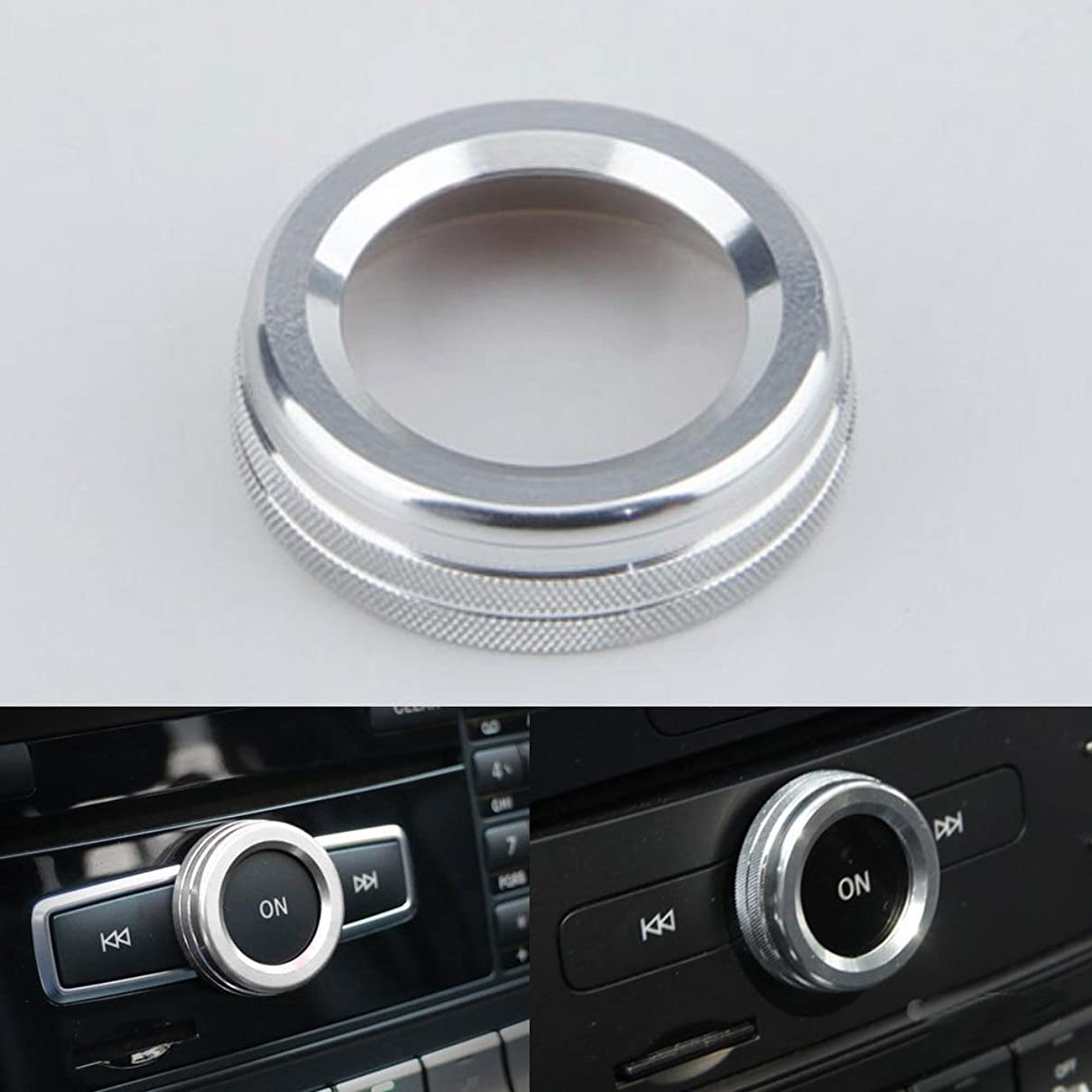 トレイルオークション再生Jicorzo - Interior Volume Adjust Switch Button Cover Trim Ring Car Styling Sticker For Mercedes Benz A B E Class GLK GLA CLA GLE ML GL [Silver]