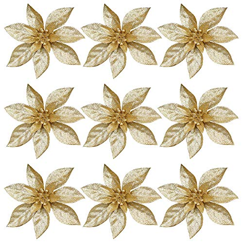 9 Pieces Christmas Glitter Poinsettia Flowers Christmas Tree Decorations Ornaments Wreaths Decor Wedding Artificial Flowers for Christmas Wedding Thanksgiving Decoration golden
