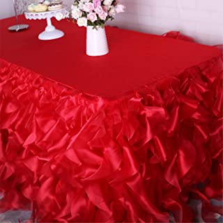Wedding Ruffled Red Blue Pink Black Blush Green Organza Curly Willow Table Skirt red 14 ft long 75cm drop