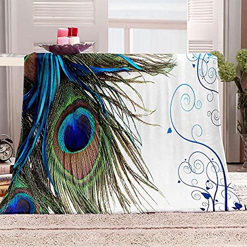 Ejiawj Manta Sofa Estampado de Plumas Verdes 200x220 cm 3D Edredón Impresión Digital Una Cara Fácil De Llevar Viajes Al Aire Libre Fácil Limpiar Antiarrugas Regalo Cumpleaños para Amantes