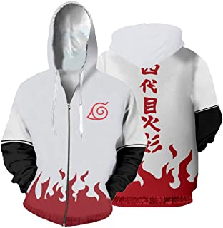 1Bar Unisex Naruto Zipper Hoodie Cosplay Anime Printed Mens Zip up Naruto Design Sweater