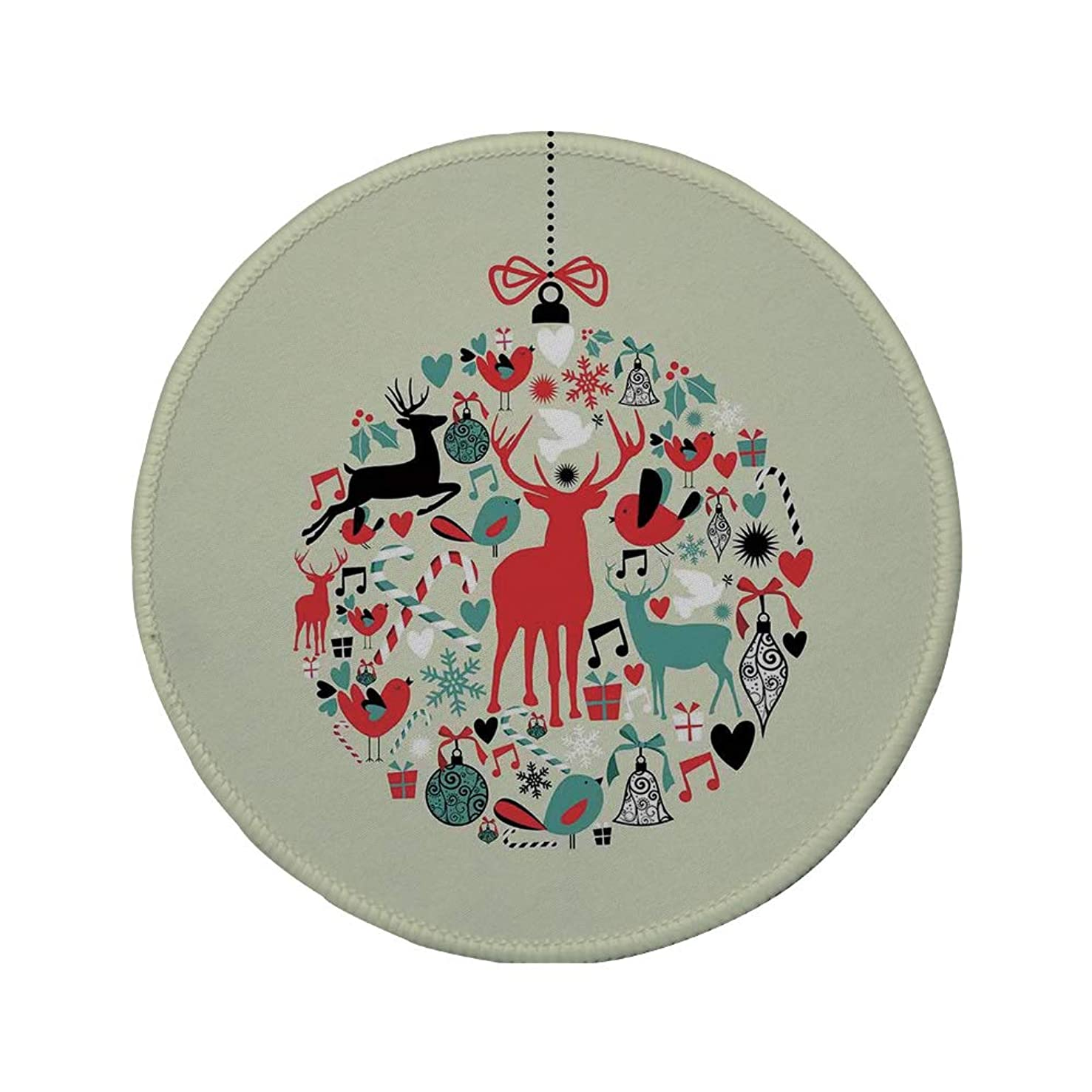 Non-Slip Rubber Round Mouse Pad,Christmas Decorations,Traditional Season Decorative Christmas Themed Design Abstract Art,Beige Red,7.87