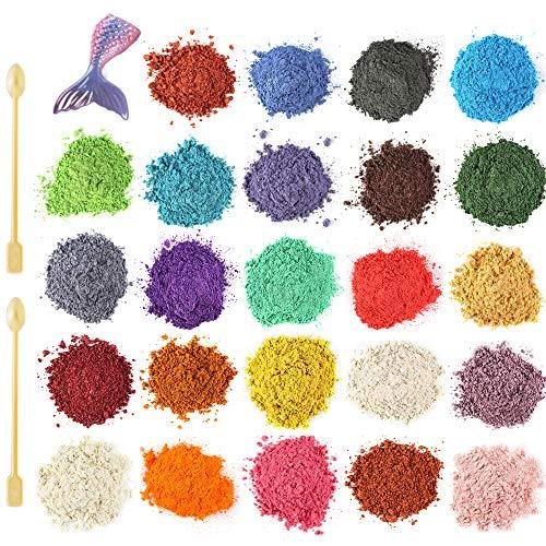 Funxim Epoxidharz Farbe 24er×10g mit Löffel, Seifenfarbe Set Metallic Farbe Resin Farbe, Mica Powder Pigmente Pulver für Seife Kunstharz Gießharz Malerei DIY