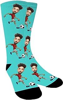 Aolun, Calcetines Personalizados Con Fotos,Jugar fútbol,Ponga Su Cara En Calcetines Para Hombres, Mujeres