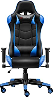 JL Comfurni Gaming Chair Chesterfield Ergonomic Swivel Home Office Nap Chair Computer Desk Chair PU Leather Recliner Sport Racing Chair with Adjustable Lumbar (Black&Blue)