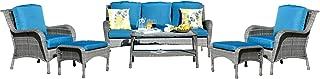 Patio Furniture Set, OVIOS 6 Pc Outdoor Furniture Set Wicker Rattan Sofa Set with Cushions Table Outdoor Garden Furniture Sets (6 Piece, Gray Wicker,Navy Blue Cushion)