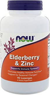 NOW Elderberry and Zinc, 90 Lozenges (Pack of 2)