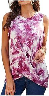 UUYUK Womens Shirt Casual Loose Fit Shirt T Shirt Twisted Sleeveless