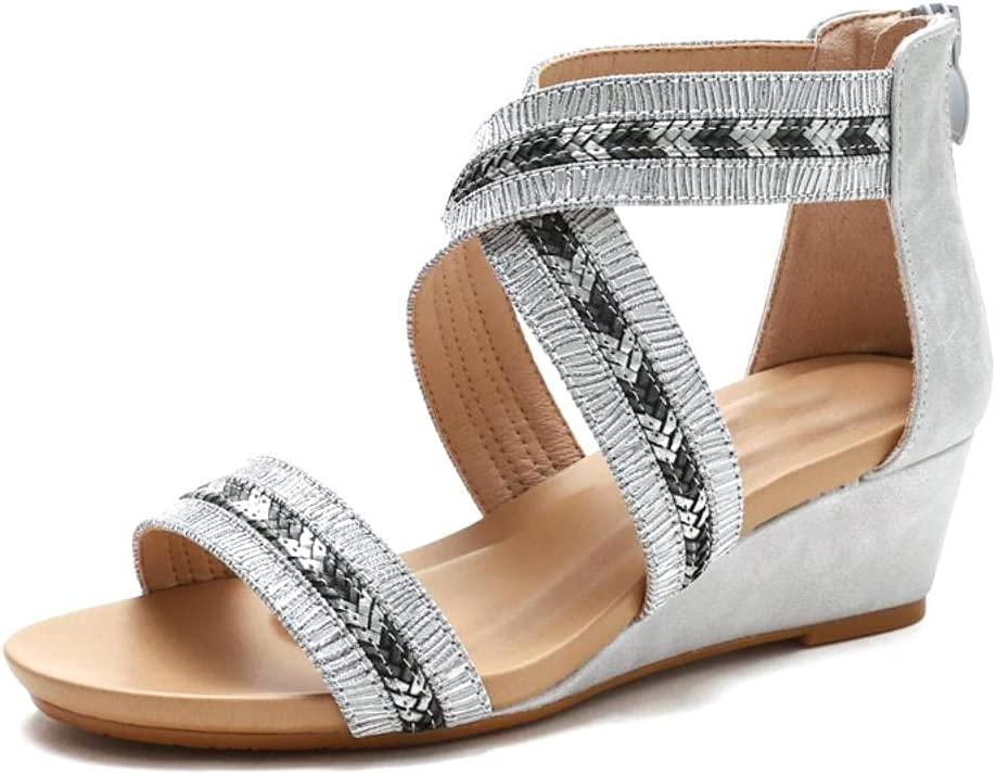 NFRADFM Omaha Mall Women's Wedges Sandals Beige Seattle Mall Heels Back Toe Zipper Peep