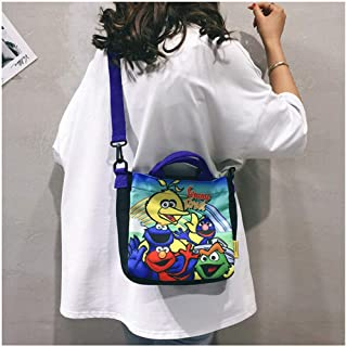 Celang Sesame Street Crossbody Female New Canvas Bag Cartoon Harajuku Student Shoulder Tote Bag