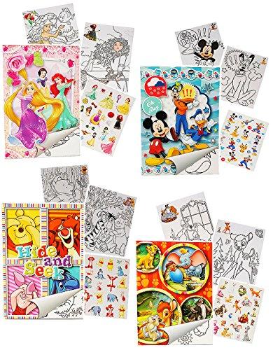 alles-meine.de GmbH großer A4 - Malblock & Stickerset -  Disney Figuren - für Jungen / Cars - Mickey Mouse - Winnie Pooh - Tiere  - Malbuch / mit Aufkleber - Tier - Malvorlagen..