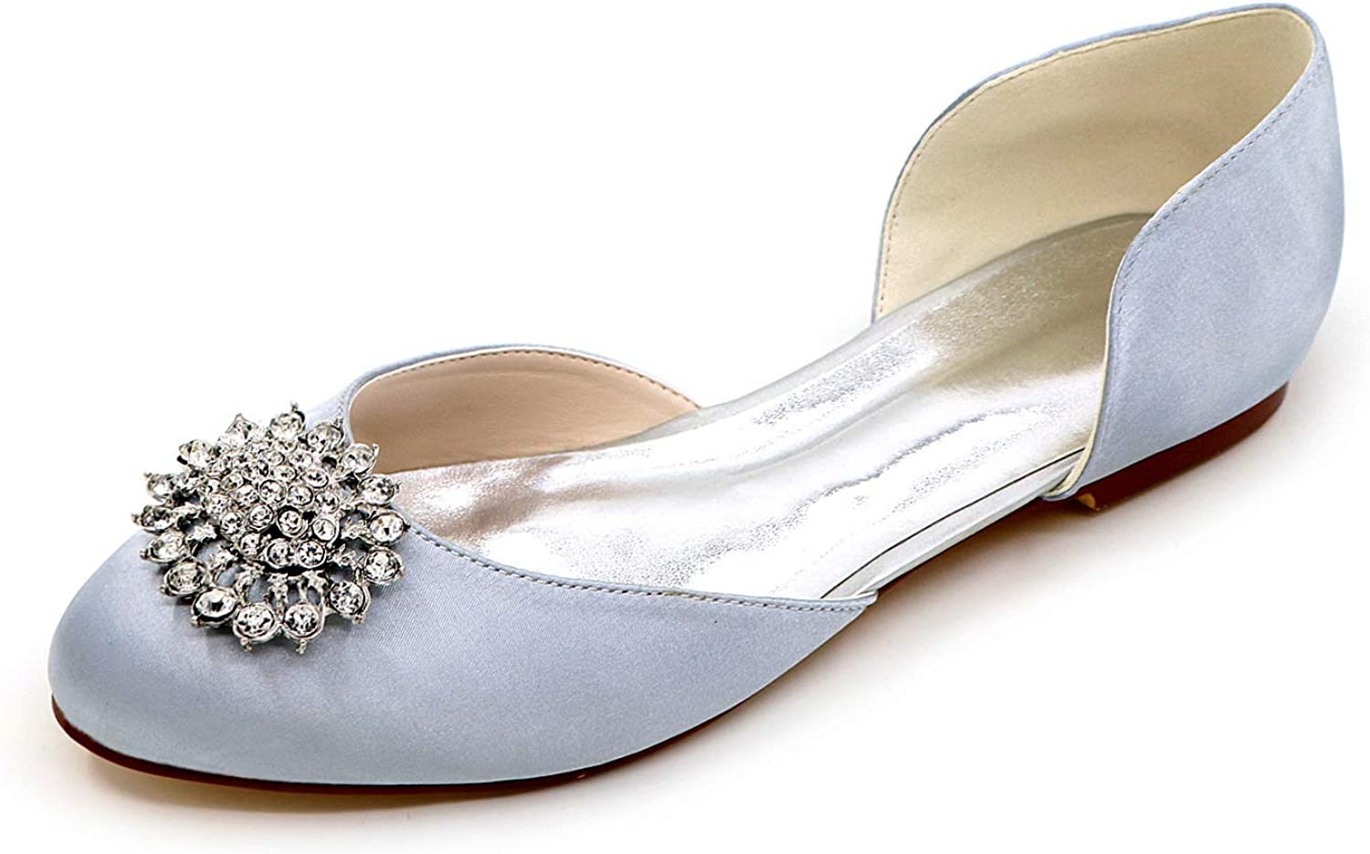 LLBubble Casual Flat shoes Women Round Toe Satin Crystals Satin Ballet shoes 9872-14