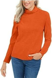 KAREN SCOTT Womens Orange Ribbed Solid Long Sleeve Turtle Neck Blouse Sweater Petites US Size: PXL