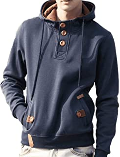 Fastbot Men's Hoodie Hooded Sweatshirt Solid Color Button Henley Pullover Tops Coat Jacket Cotton Outwear