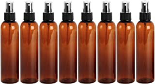 4 Ounce PET BPA-Free Plastic Empty Refillable Cosmo Round Bottles With Black Ribbed Fine Mist Spray Cap (Pack of 8) (Amber)
