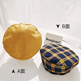 SHENTIANWEI Beret hat Female Korean Version of The Double-Sided British Retro Plaid Autumn and Winter Solid Color Painter hat Bud Cap (Color : Turmeric, Size : One Size)