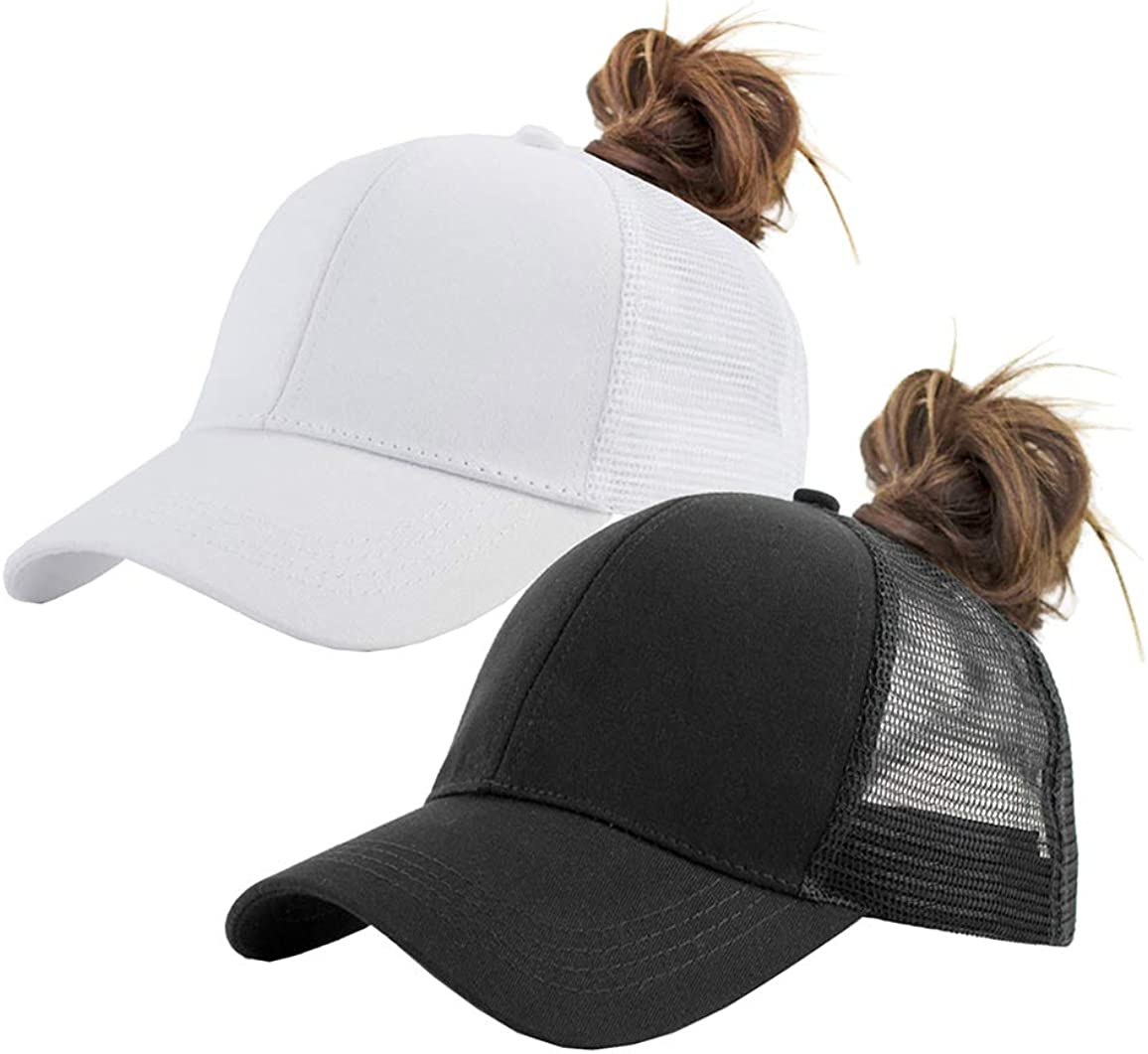 Solid Ponytail Hat Baseball Cap Cotton Mesh High Bun Pony Cap Women 56-58cm (22