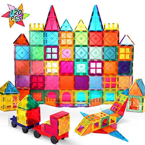 VATENIC 120PCS Kids Magnetic Tiles Building Blocks 2 Cars Magnet Tiles for Kids Children,Educational Learning Building Pre-Kindergarten Toys Birthday Gifts for Boys Girls Age 3 4 5 6 7 8 9 10 Year Old