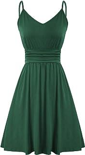 Women Deep V Neck Adjustable Strap Dress Ruched Waist A Line Dresses