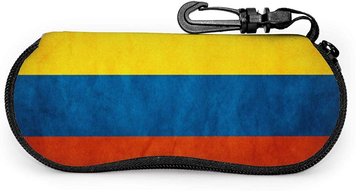 Colombia Flag Glasses Case Unisex Eyeglasses Protective Case Zipper Eyeglass Box With Key Chain Universal Fits