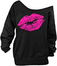 Begonia.K Women's Sexy Pullover Lips Print Casual Off The Shoulder Slouchy Shirt