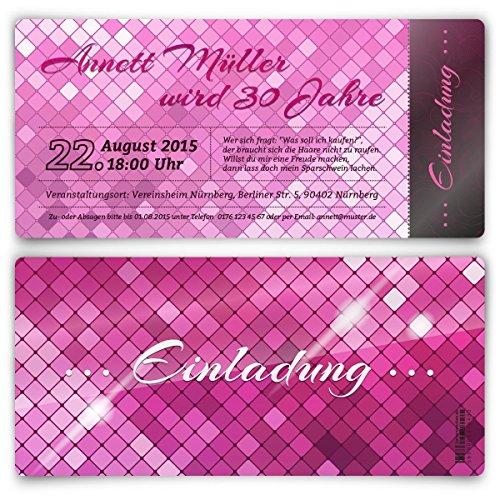 Einladungskarten zum Geburtstag (40 Stück) Glamour in Pink Glanz elegant edel glamourös