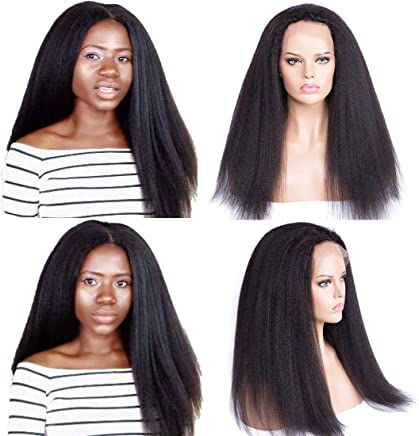 52221c273 Sheenreal Italian Yaki Human Hair Lace Front Wigs for Black Women Kinky  Straight Human Hair Wigs