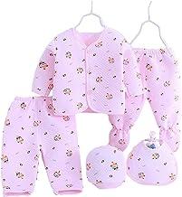 BENAVJI New Born Baby Winter Wear Keep Warm Cartoon Printing Baby Clothes 5Pcs Sets Baby Boys Girls Unisex Baby Fleece/Falalen Suit Infant Clothes 0-6 Months (Pink)