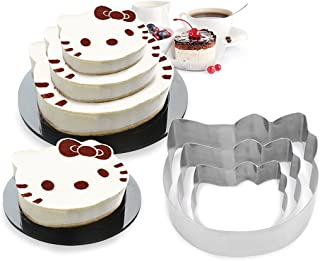 Funwhale 3 Tier Cat Multilayer Anniversary Birthday Cake Baking Pans,Stainless Steel 3 Sizes Rings Cat Molding Mousse Cake Rings(Cat-Shapes,Set of 3)