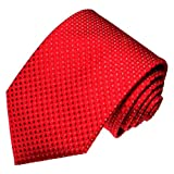 LORENZO CANA - Rote Krawatte aus 100% Seide mit weissen Punkten - Gewebter Seidenschlips Rot - 84467