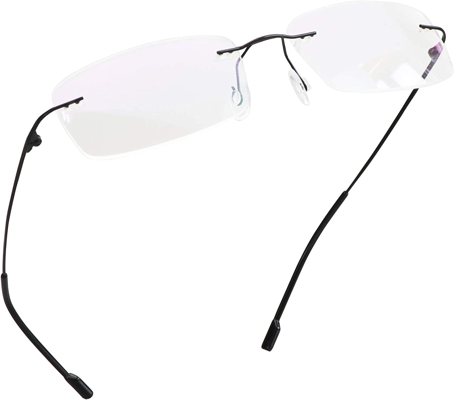 LifeArt Blue Light Blocking Glasses, Computer Reading Glasses, Anti Blue Rays, Reduce Eyestrain, Rimless Frame Tinted Lens with diamond, Stylish for Men and Wowen (Black, +1.50 Magnification)
