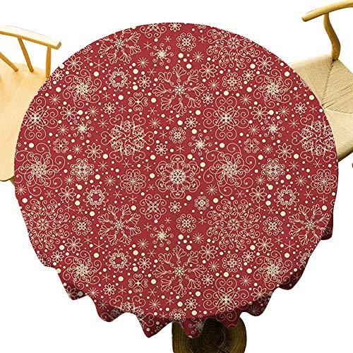 VICWOWONE Mantel rojo – 50 pulgadas mesa redonda estilo filigrana copos de nieve con detalles de rizo flaco alegría ilítida inspiración en arte disfrutar de cenar rojo beige