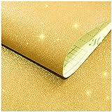 LZYMLG Selbstklebende Flash Wallpaper Mädchen Schlafzimmer Schlafsaal Live Hintergrund Wanddekoration Aufkleber Geschenk Verpackung Aufkleber Golden 45cm*3m