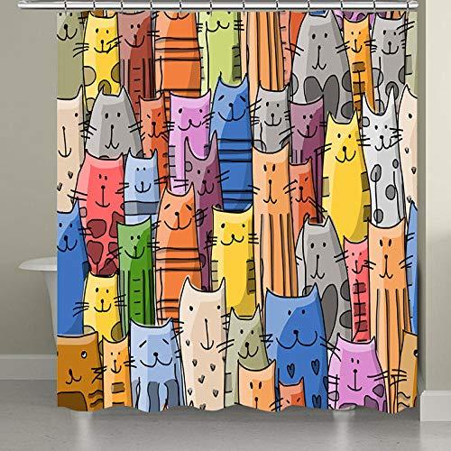 Cortina de Ducha de baño Impermeable con Estampado de Gato Colorido, Cortina de Ducha de Tela de poliéster 3D-A_180x200_CM