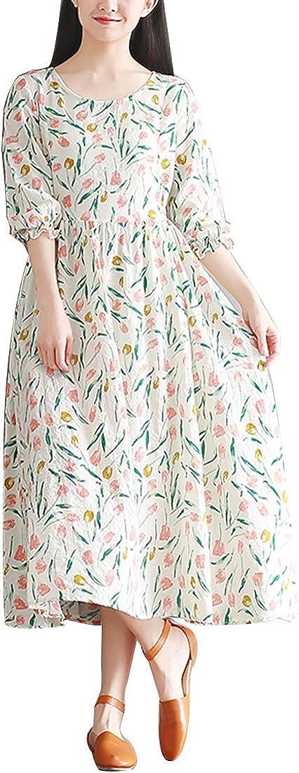 YUHEYUHE Women's Summer 上質 Half Sleeve Neck Floral Scoop Long 美品 Dress