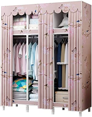DPLLM Cloth Wardrobe Clothes Closet it Can Move Moisture Proof, Combination Armoire Anti-Rust Repeated Use, for Bed Room/Office/Theater,Pink_130 x 45 x 172cm